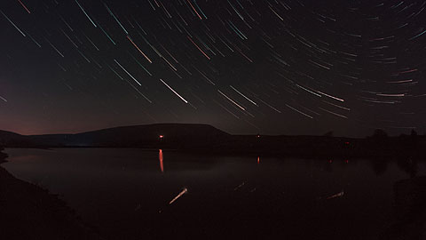 Star trails over Pendle Hill
